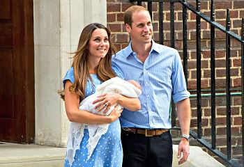 Catherine, Duchess of Cambridge and Prince William, Duke of Cambridge with their newborn son.