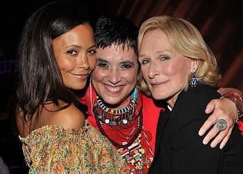 Actress Thandie Newton (left), author/activist Eve Ensler (center), and actress Glenn Close (right) attend V-DAY?s Viva Vevolution! fundraiser in NYC.