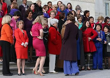 Democratic Leader Pelosi stands with the Democratic women of the House. Will one of them help see VAWA through?