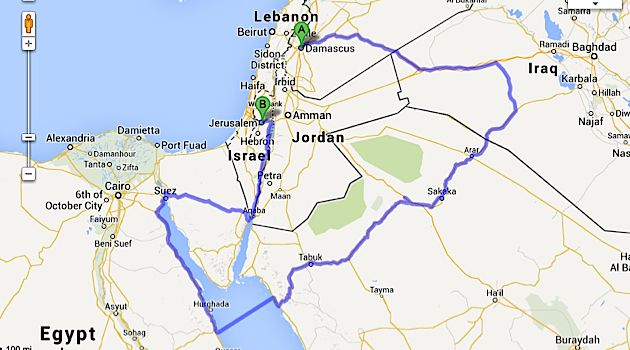 How Long Is The Road From Jerusalem To Damascus The Forward - Map of egypt and syria