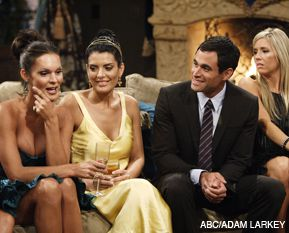 GOOD CATCH: Jason Mesnick, with (from left) Stephanie, Raquel and Natalie, is the first Jewish bachelor on the reality TV show.
