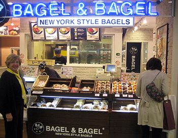 Want A Schmear With That? Rosalind Eskenazi, left, finds ?New York Style Bagels? flavored with green tea at a shop in Sendai, Japan.