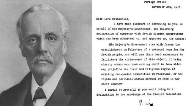 Eretz Israel: Lord Balfour (above), along with his famous letter to Baron Rothschild.