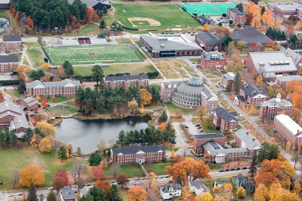 An aerial view of Bates' campus.