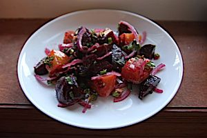 Roasted Heirloom Beet Salad with Capers and Pistachios