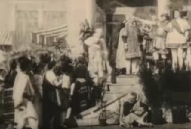From the 1907 silent adaptation, the only version in which Jesus does not appear. It ends right after the chariot race.