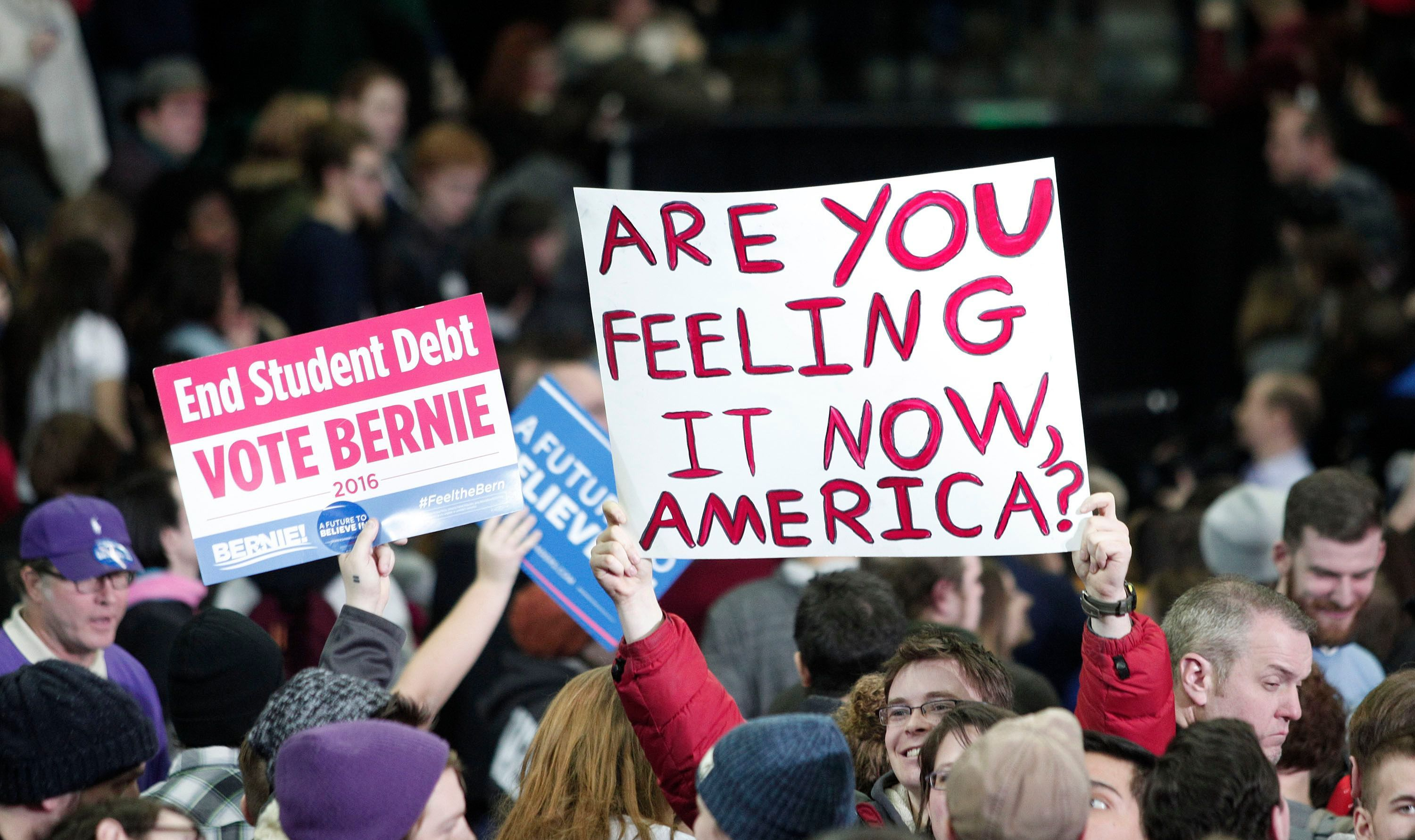 Bernie Sanders supporters rally in Nevada.