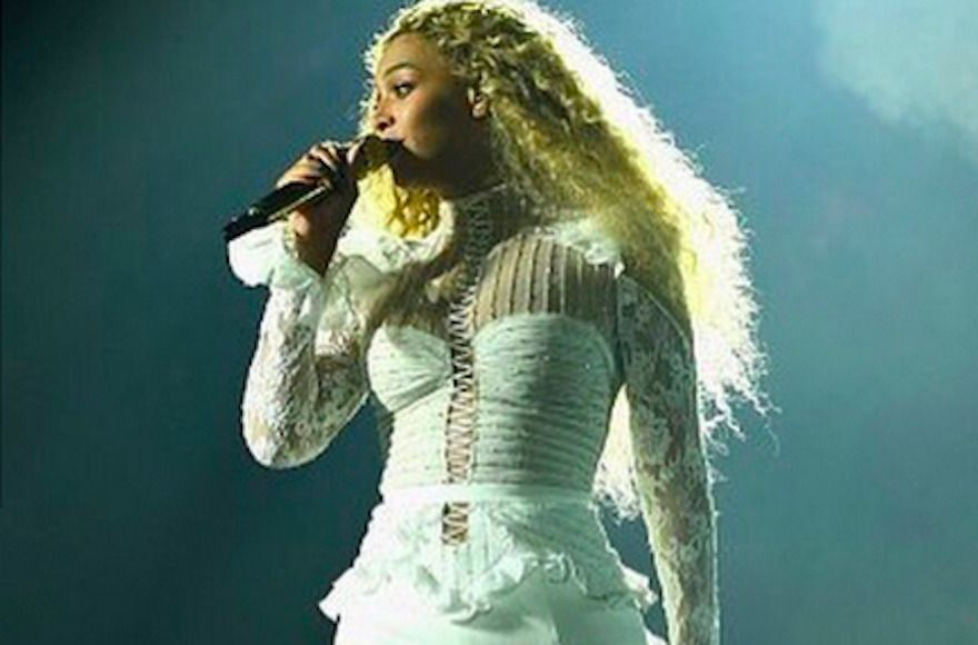 Beyonce on stage in an Inbal-Dror dress during a performance in Houston, Texas, May 7, 2016.