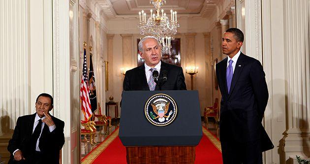 Talks: Israeli Prime Minister Benjamin Netanyahu (center) launched peace talks in September with President Obama and Hosni Mubarak, former president of Egypt.