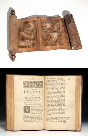 Precious Paper: Bauman shies away from esoteric legal, philosophical and theological texts, focusing instead on liturgy, Bibles, Jewish history, Zionism and the Holocaust. Above, an 18th-century scroll of the Book of Esther; bottom image, a 1738 first edition of the earliest published English translation of the Jewish prayer book.