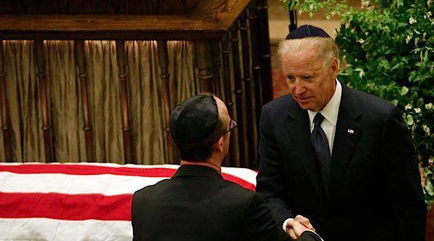 Dignified Speaker: Vice President Joe Biden eulogized the late Frank Lautenberg at a funeral held at New York City?s Park Avenue Synagogue.