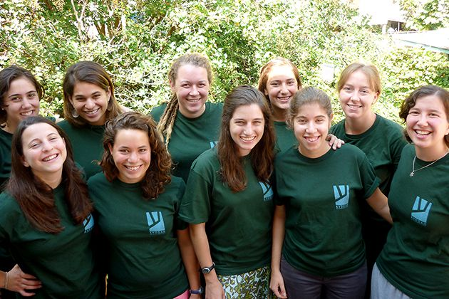 Community: Laura Taishoff (bottom left) and Yaeli Bronstein (bottom right), pictured with their 2009 Avodah group, are part of the new Jewish landscape in New Orleans.