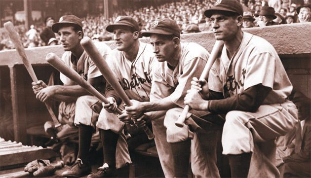 Big Hitters: From left, Hank Greenberg, Goose Goslin, Charlie Gehringer and Pete Fox, all of the Detroit Tigers, on the dugout steps at Boston?s Fenway Park in September 1935.