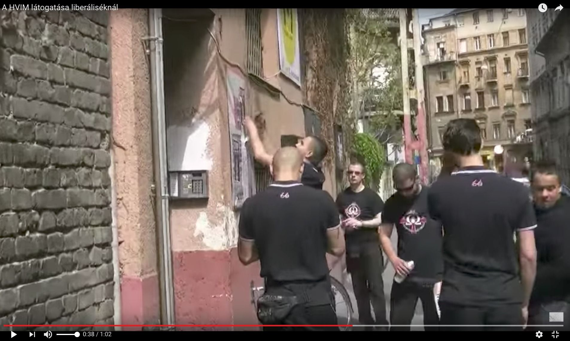 Under Seige: Black-shirted members of a right-wing nationalist group marched on the Aurora in May and put up posters denouncing philanthropist George Soros.