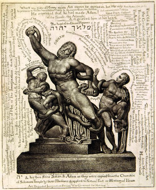 All Rhodes Lead to God: Blake concurs with Pliny the Elder in saying that ?three Rhodians? made the original sculpture. His graffiti-like annotations explain how Laocoön (with backward alef over his head) and sons Antiphantes and Thymbraeus fit into Blake?s own cosmic myth.