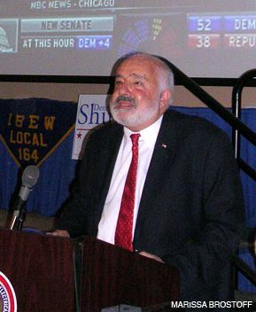 BOWING OUT: Dennis Shulman concedes as Obama?s election returns come in.