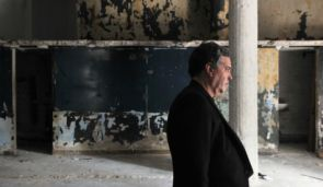 Amos Gitai at the Haifa architecture museum during renovations.