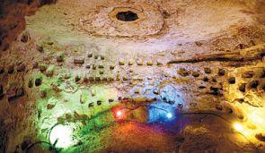 An ancient columbarium discovered under Jerusalem.