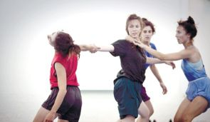 Noa Shadur, and dancers practicing a scene from ?Calypso.?