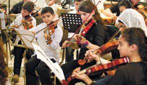 Students in Ramzi Aburedwan?s music class in Beit Jala.