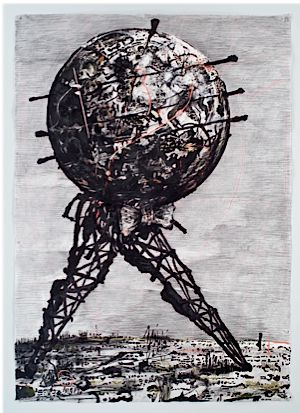 ?Drawing for II Sole 24 Ore [World Walking],? by William Kentridge, 2007, Charcoal, gouache, pastel, and colored pencil on paper. Courtesy Marian Goodman Gallery, New York.