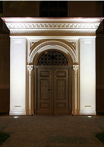 Portal to the renovated synagogue in Ostrow Wielkopolski, Poland.