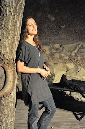 Samara Frame as Rachel Corrie at the Will Geer Theatricum Botanicum.
