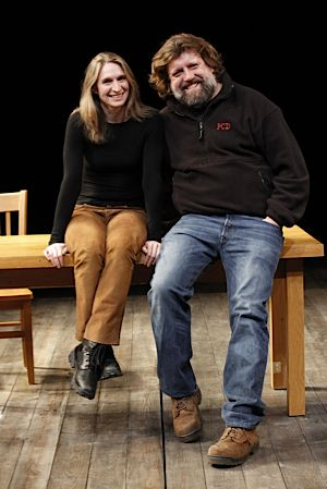 Rinne Groff with The Public Theater Artistic Director Oskar Eustis.