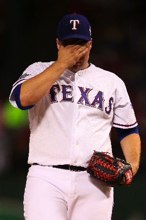 Tommy Hunter of the Texas Rangers during Game Four of the World Series.