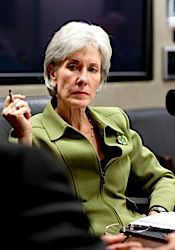 HHS Secretary Kathleen Sebelius, whose department overruled the FDA on emergency contraceptive access.