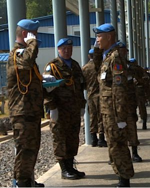 Mongolian peacekeepers protect the Special Court.