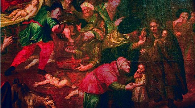 Ritual Murder: Karol de Prevot?s painting was recently unveiled in a cathedral in Sandomierz, Poland.