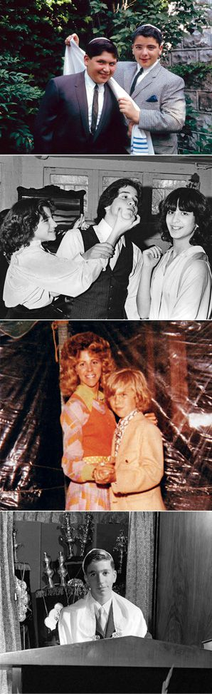 COMING OF AGE: The book features interviews with celebrities who discuss their bar and bat mitzvahs, and it also includes old family photos. Above (top to bottom): Actor Harvey Fierstein (left) with brother Ron, Jeremy Piven with friends Laura Katz (left) and Anna Shapiro, fashion designer Michael Kors with his mother, and Henry Winkler