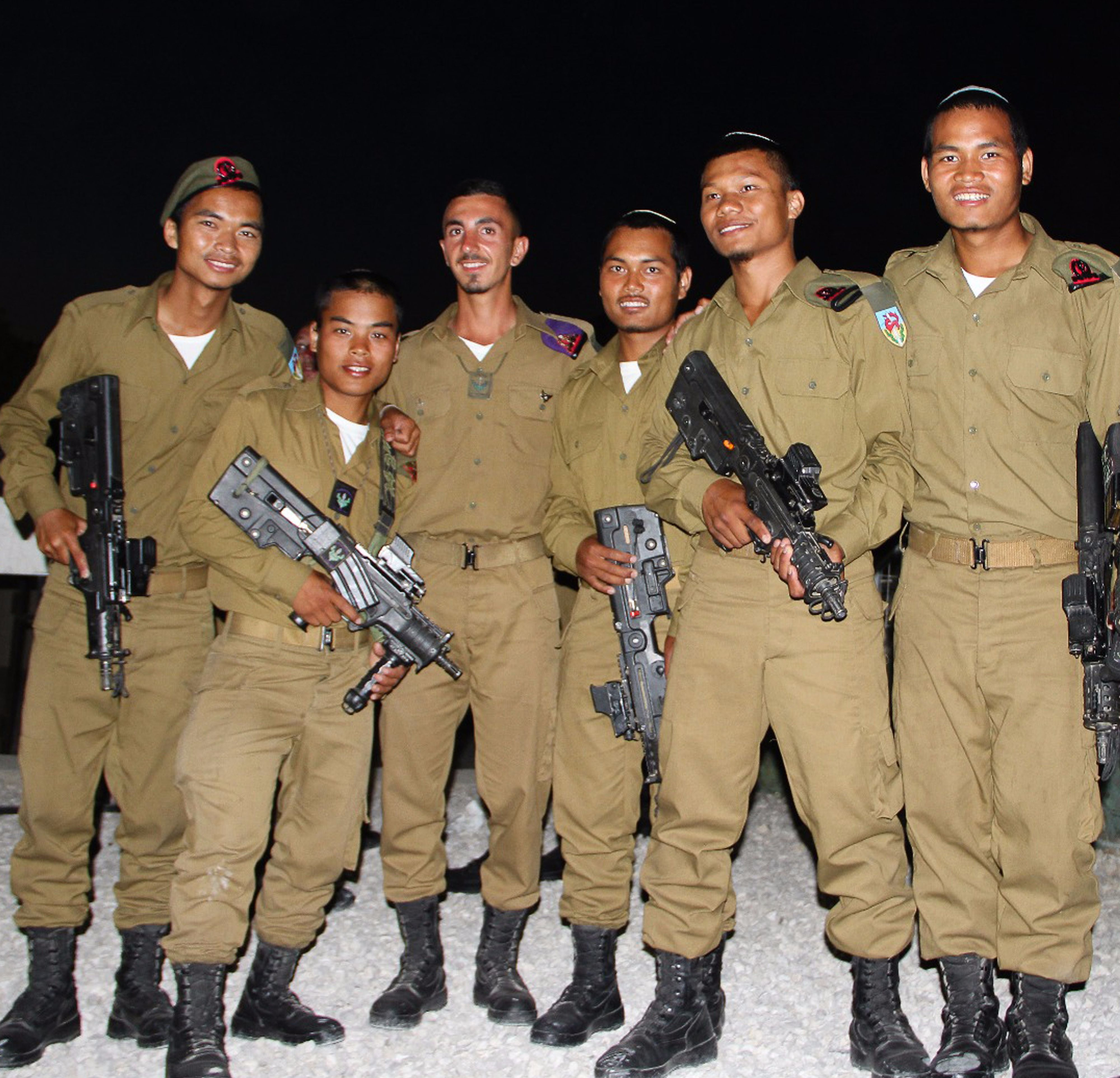 Six soldiers in the IDF from India who claim to be descended from the Tribe of Menashe.