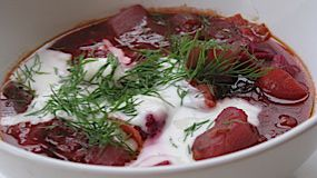 Brisket borscht with horseradish sour cream and rye crouton