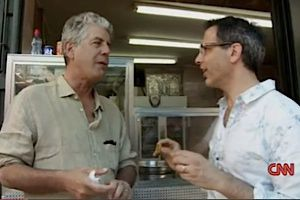 Anthony Bourdain, left, with Yotam Ottolenghi, in Jerusalem.