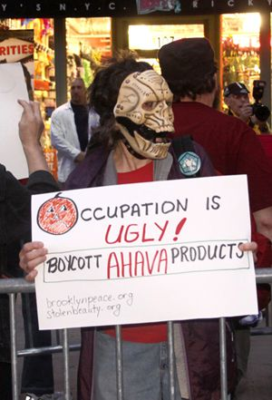 No Love Here: Protestors oppose Ahava products at a beauty store in Brooklyn.