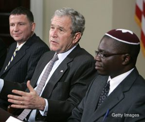 FIRST STOP: Bush began Hanukkah festivities by meeting with leaders of marginalized Jewish communities, including Uganda's Abayudaya