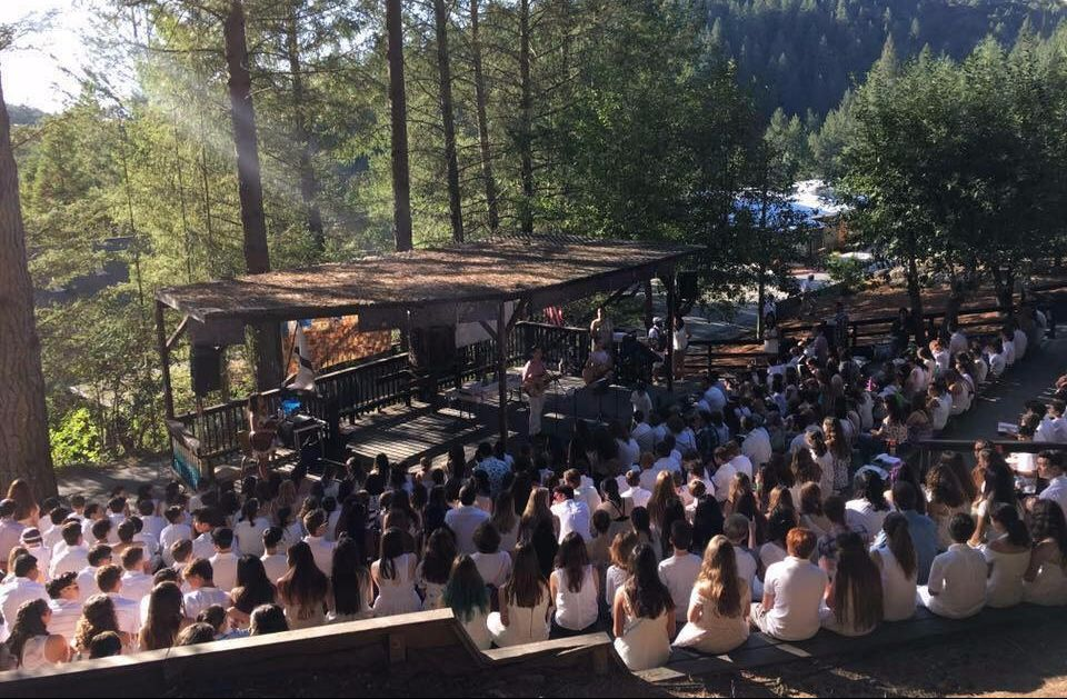 Campers gathering for Kabbalat Shabbat, Friday evening prayer services.