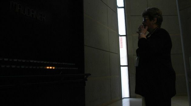 Rose Farbiarz, a Holocaust survivor now living in Toronto, Canada, visits The Hall of Remembrance in Washington.