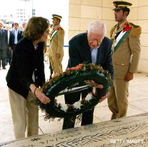 NOBEL SENTIMENTS: Jimmy Carter laid a wreath on Yasser Arafat?s tomb during his tour of the Middle East, which included a visit with Hamas leaders.
