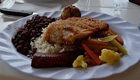 A typical casado with rice, beans, fried plantains, salad and fish