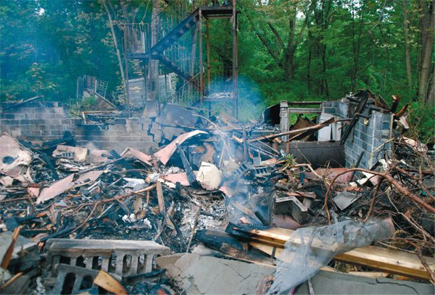 Arson? Investigators believe a fire that destroyed a building on the site the Svker Hasidic sect?s Catskills summer camp was deliberatetly set. The sect has defied a New York State Health Department order to evacuate the camp for numerous health and safety violations.