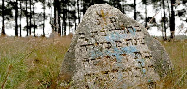 Lost Heritage: This desecrated gravestone near Minsk is one of many across Belarus that need urgent attention.