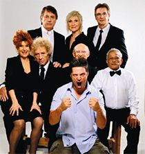Legends Come to Life: The cast of ?Chasamba? the TV show with director Dror Nobleman in front. Standing, from left Oded Kotler, Nira Rabinovitch, Moti Giladi and sitting, from left, Tsipi Shavit, Yair Rubin, Hugo Yarden, Gabi Amrani.
