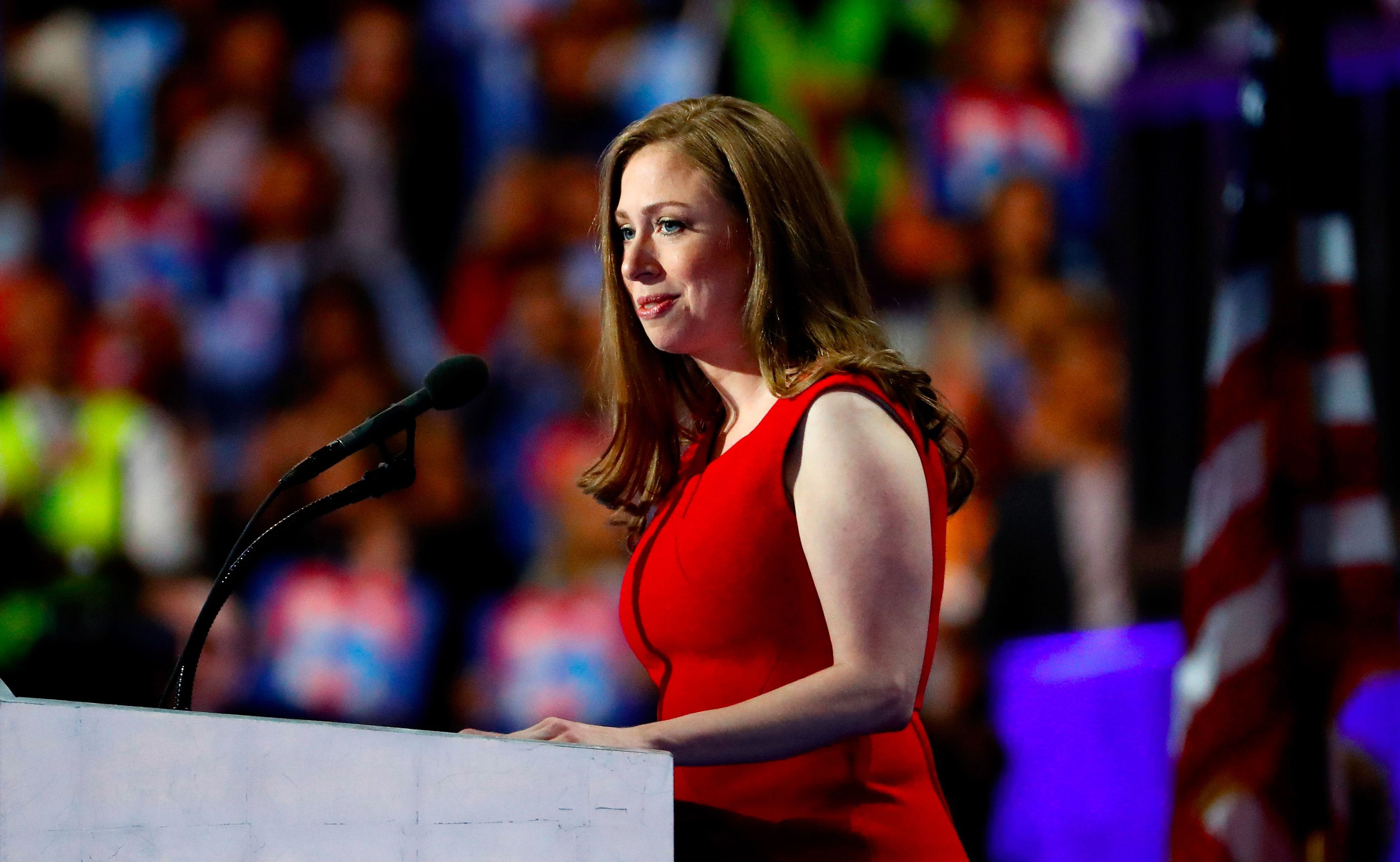 Chelsea Clinton talks during the Democratic National Convention, July 28, 2016 in Philadelphia, Pennsylvania.