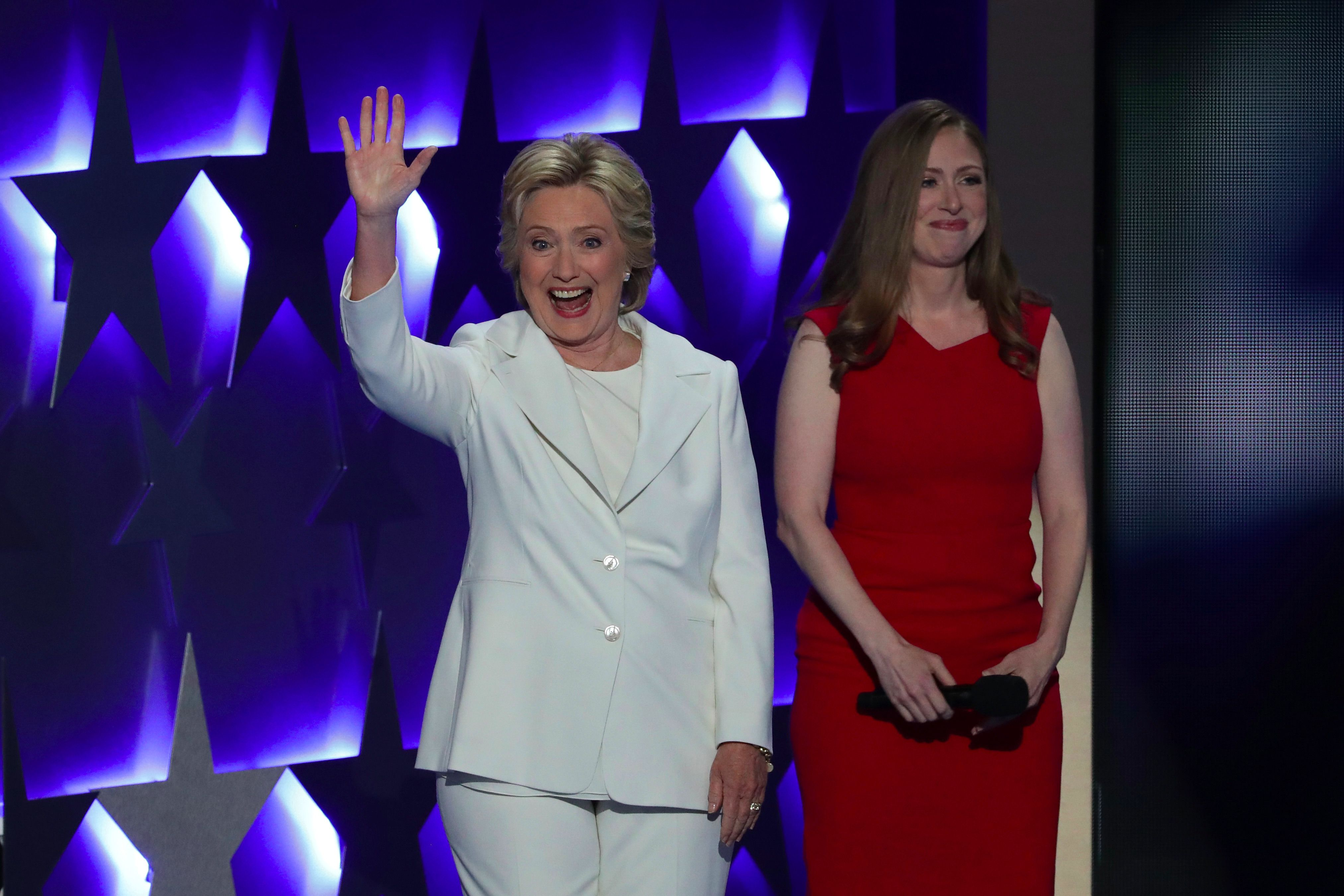 Hillary and Chelsea Clinton at the Democratic National Convention, July 28, 2016 in Philadelphia, Pennsylvania.
