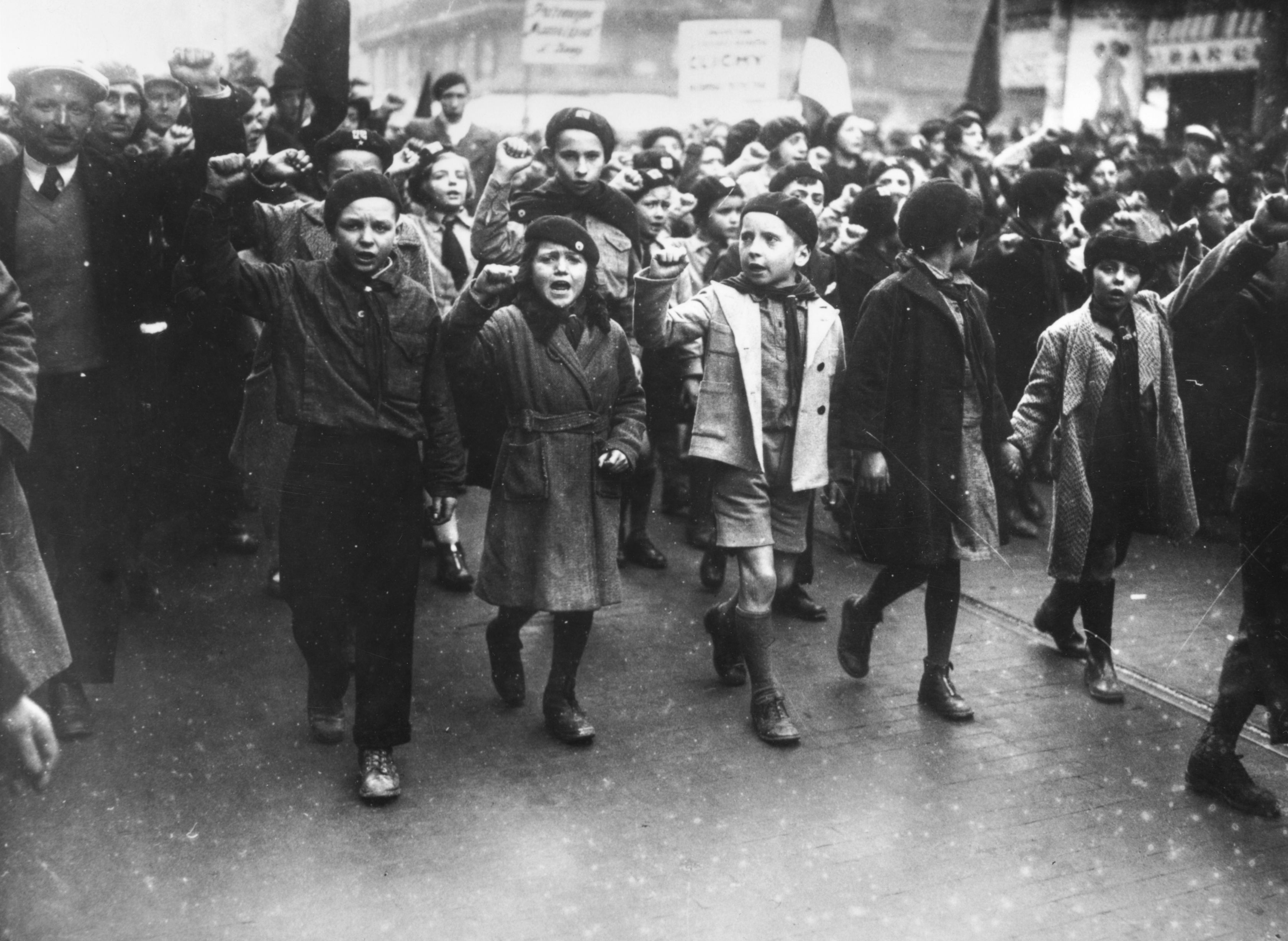 Protesting children in Paris, 1936.