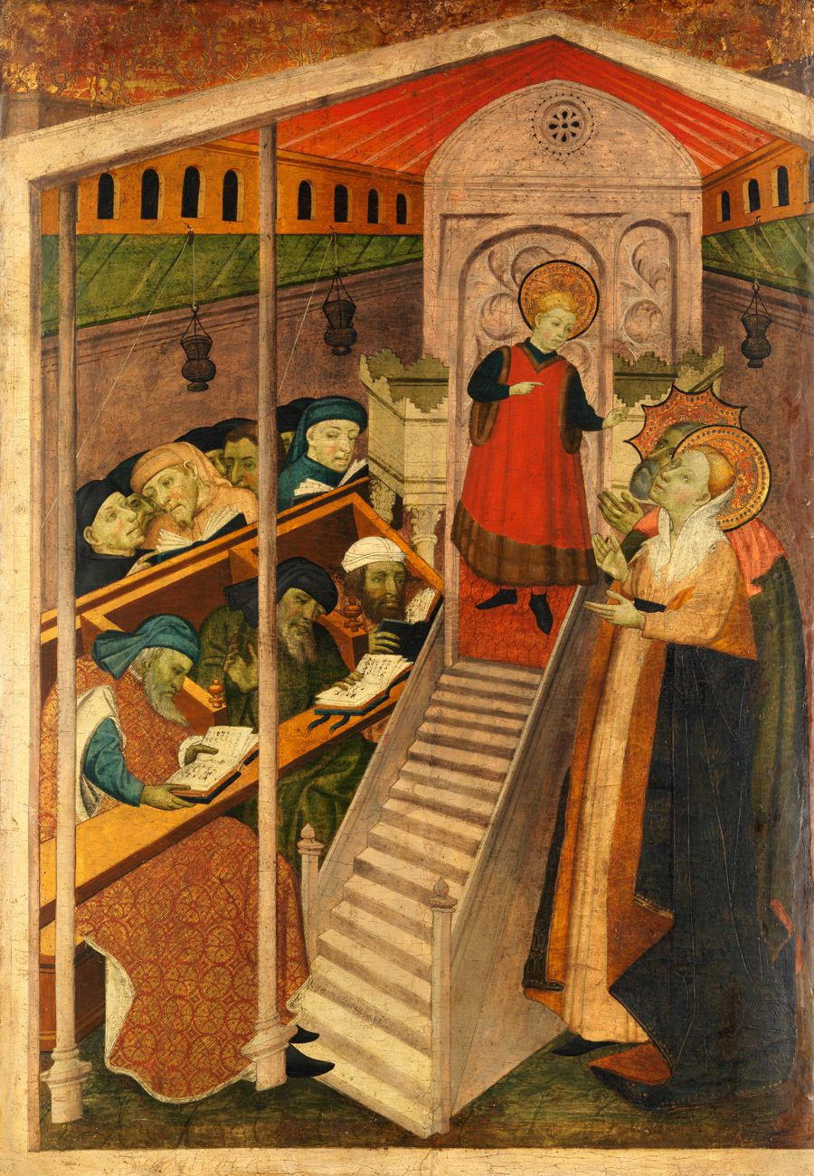 Altarpiece: Christ is shown here among the ?doctors,? Jewish men seated in a contemporary Spanish synagogue, not the Jerusalem Temple. (click for larger view)