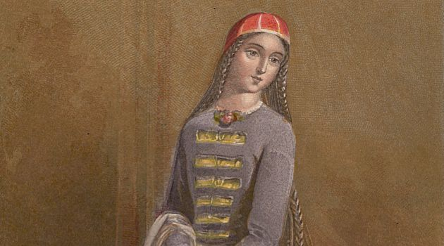The Latest Fashion: A painting of a woman sporting traditional Circassian garb, circa 1880.
